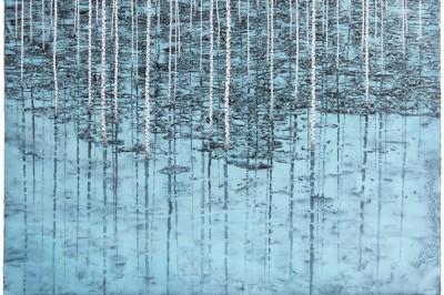 Hiver, Reflets, 2016, huile sur papier,  120 x 155 cm