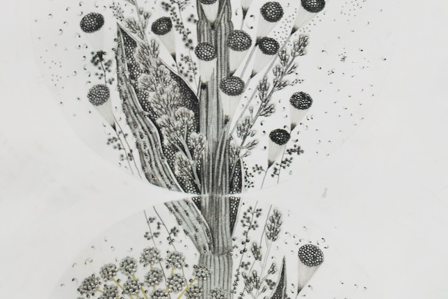 Instar (9), 2019, graphite, silver ink, metal leaf on fabriano 4 paper, 165 x 40 cm, EUR 8'900