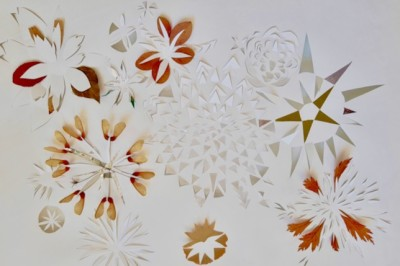 Mathilde Tinturier, untitled, 2020, paper cut -out and collage, paper and leaves, 50 x 74 cm